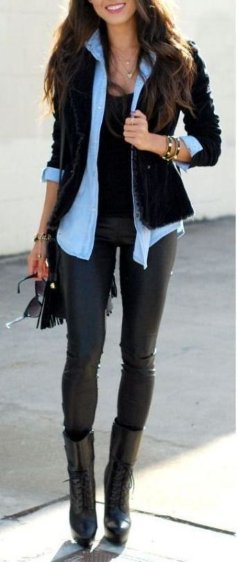 20 Ways To Wear Leather Leggings With Your Outfit - Society19 #leatherpantsoutfit