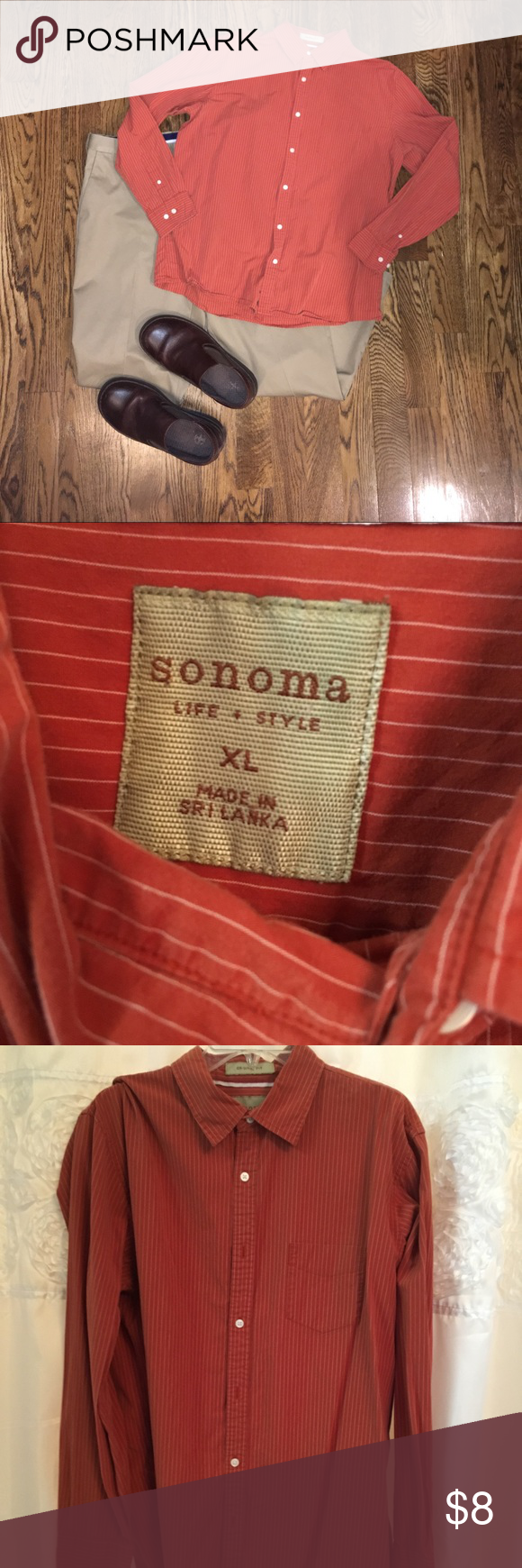 Mens Xl Orange Stripe Sonoma Dress Shirt Mens Xl Long Sleeve Button Down Shirt Burnt Orange Color With Vertica Sonoma Shirts Mens Xl Casual Button Down Shirts [ 1740 x 580 Pixel ]