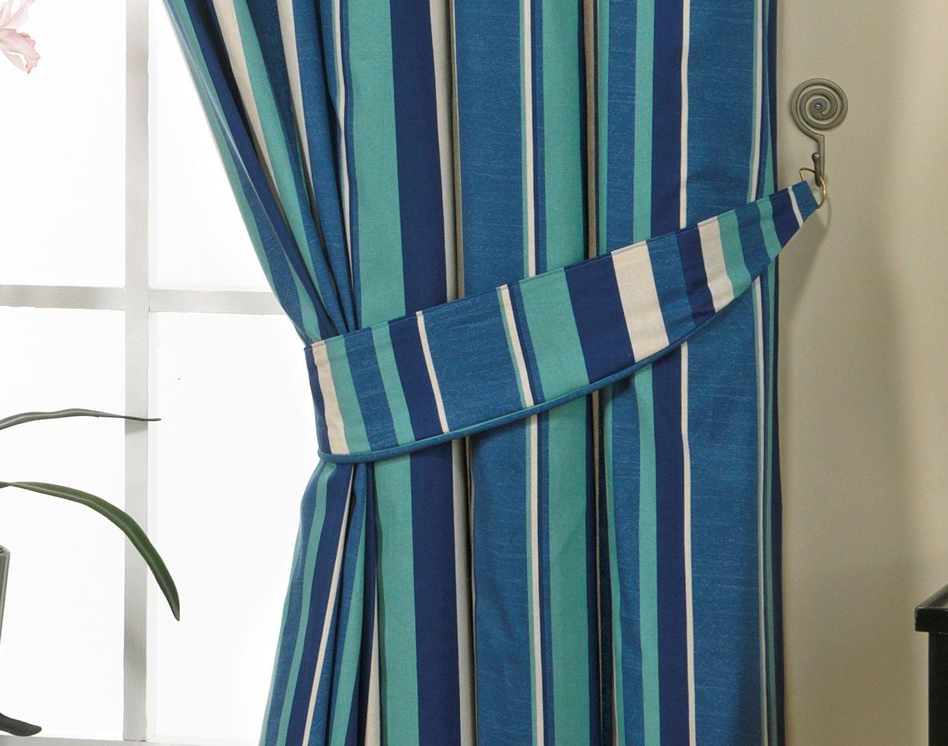 Blue Striped Curtains Arrangement Invado International How To