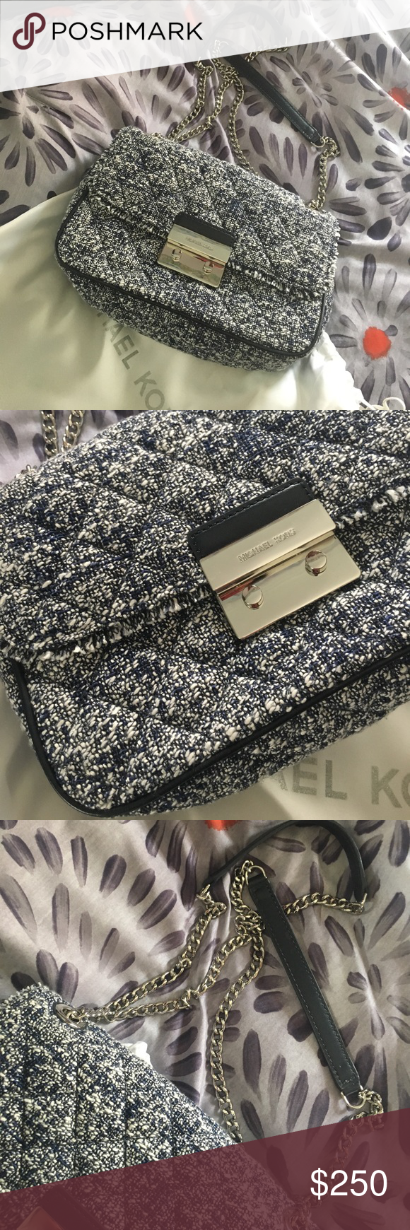12f83629220b91 Michael Kors Tweed Bag 10x7, silver hardware navy leather nwt Bags  Crossbody Bags