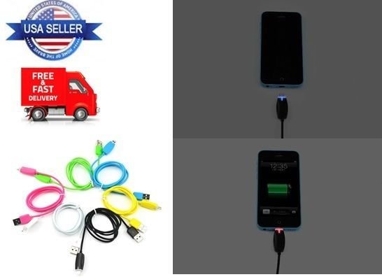 LED Light USB Cable Charging Data Sync for iPhone 5 6 Plus Charger Cord BLACK