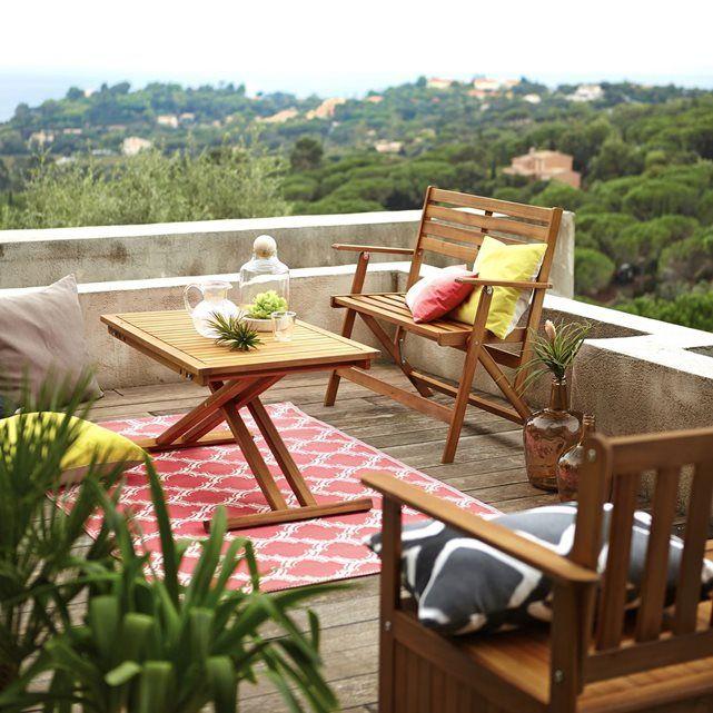 Table de jardin pliante en acacia et finition teck | Gain de place ...