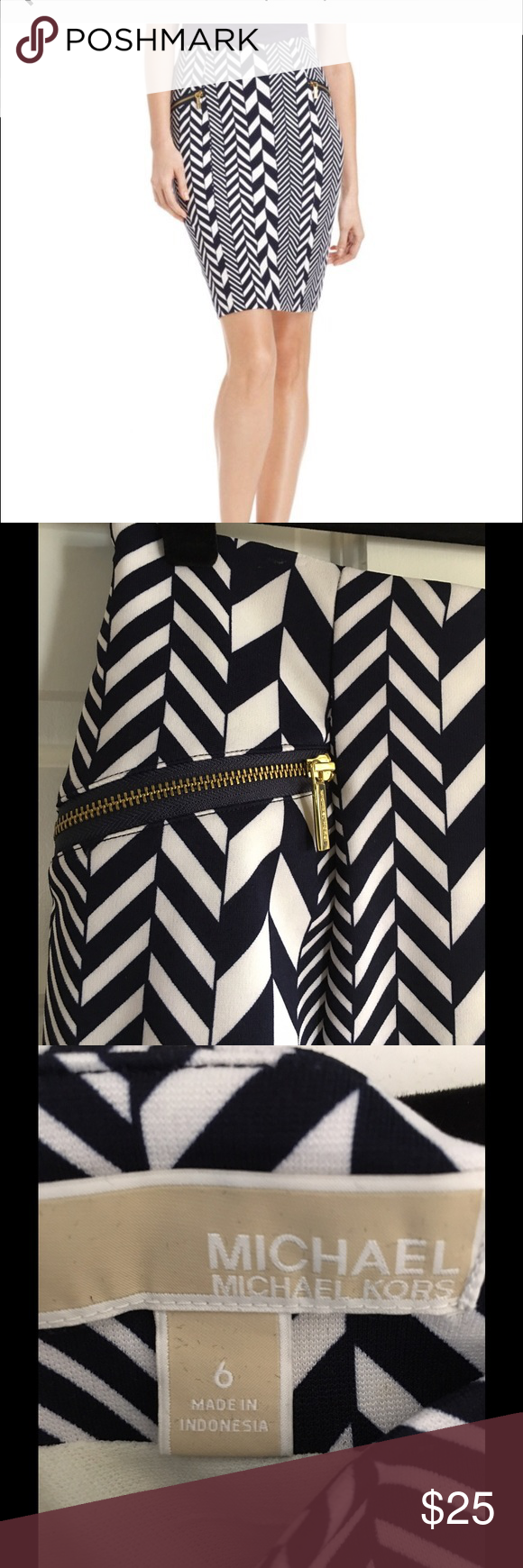 Michael Kors Navy & White chevron print skirt So classy skirt for work or going out. Worn once. Some stretch to this so will also fit a size 8. Michael Kors Skirts Pencil