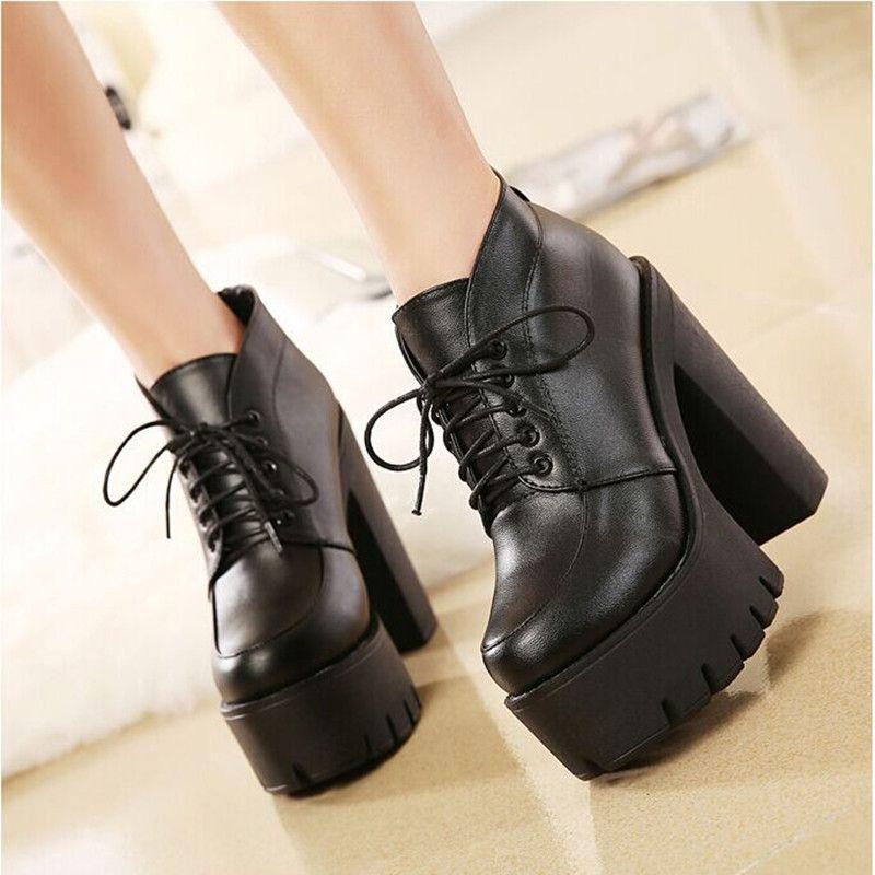 Mujeres negro Punk gótico de la hebilla correa Chunky Heels plataforma  huarache tobillo patea los zapatos