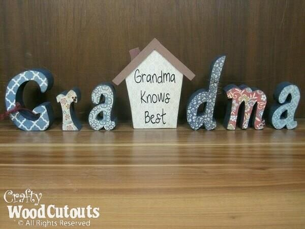 Grandma letter set wood cutouts letter set and craft diys grandma letter set for 1919 from crafty wood cutouts sciox Images