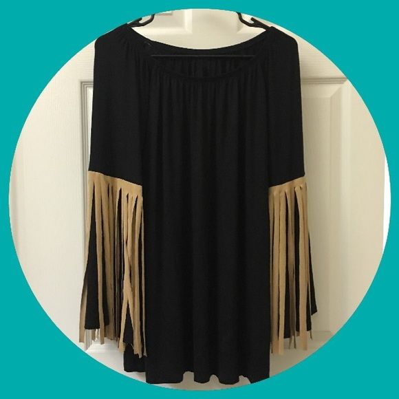 Black Fringe Top Black fringe top. Can be used like a top or tunic as well as a dress if you are short like me haha. New, never worn (just for picture). Tags still on but price is marked out, however as seen in picture it is still legible. Tops