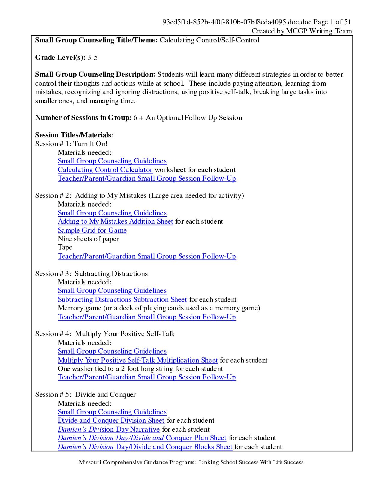Positive Self Talk Worksheets