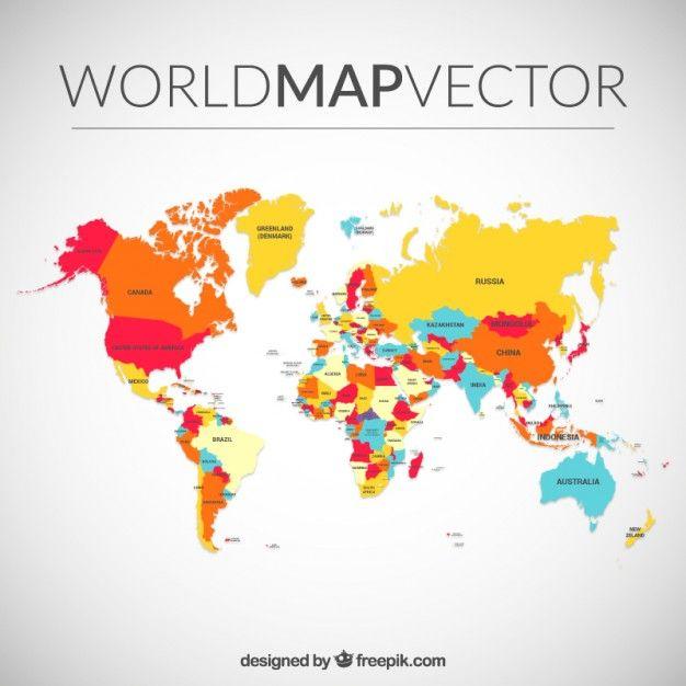 6058f508b978a Color mapa del mundo Vector Gratis