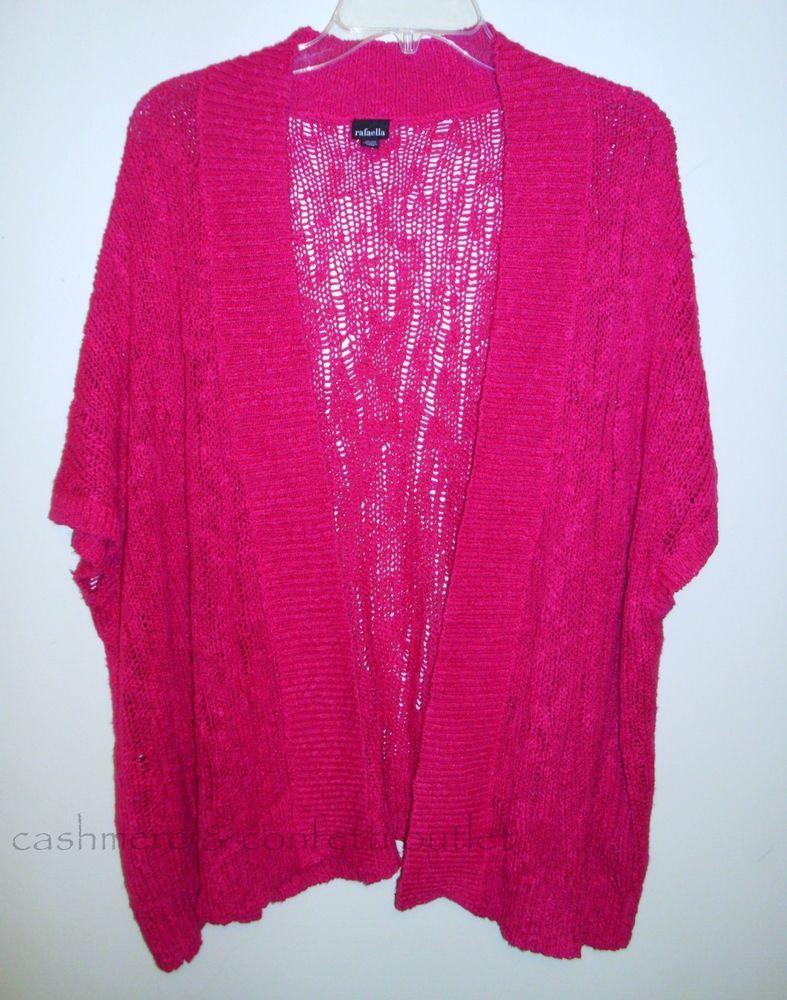 Rafaella Open Front Pink Cardigan Sweater Open Weave Short Sleeve ...