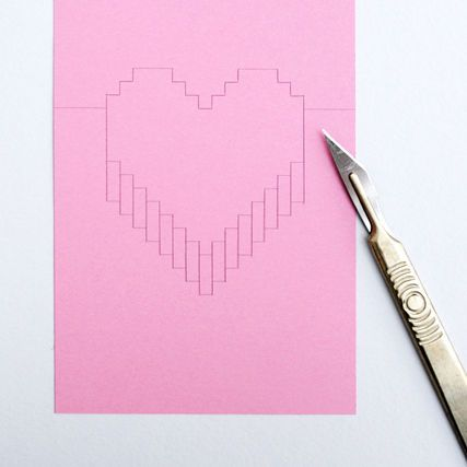 Pixelated Popup Card Heart Pop Up Card Pop Up Card Templates Diy Valentines Cards
