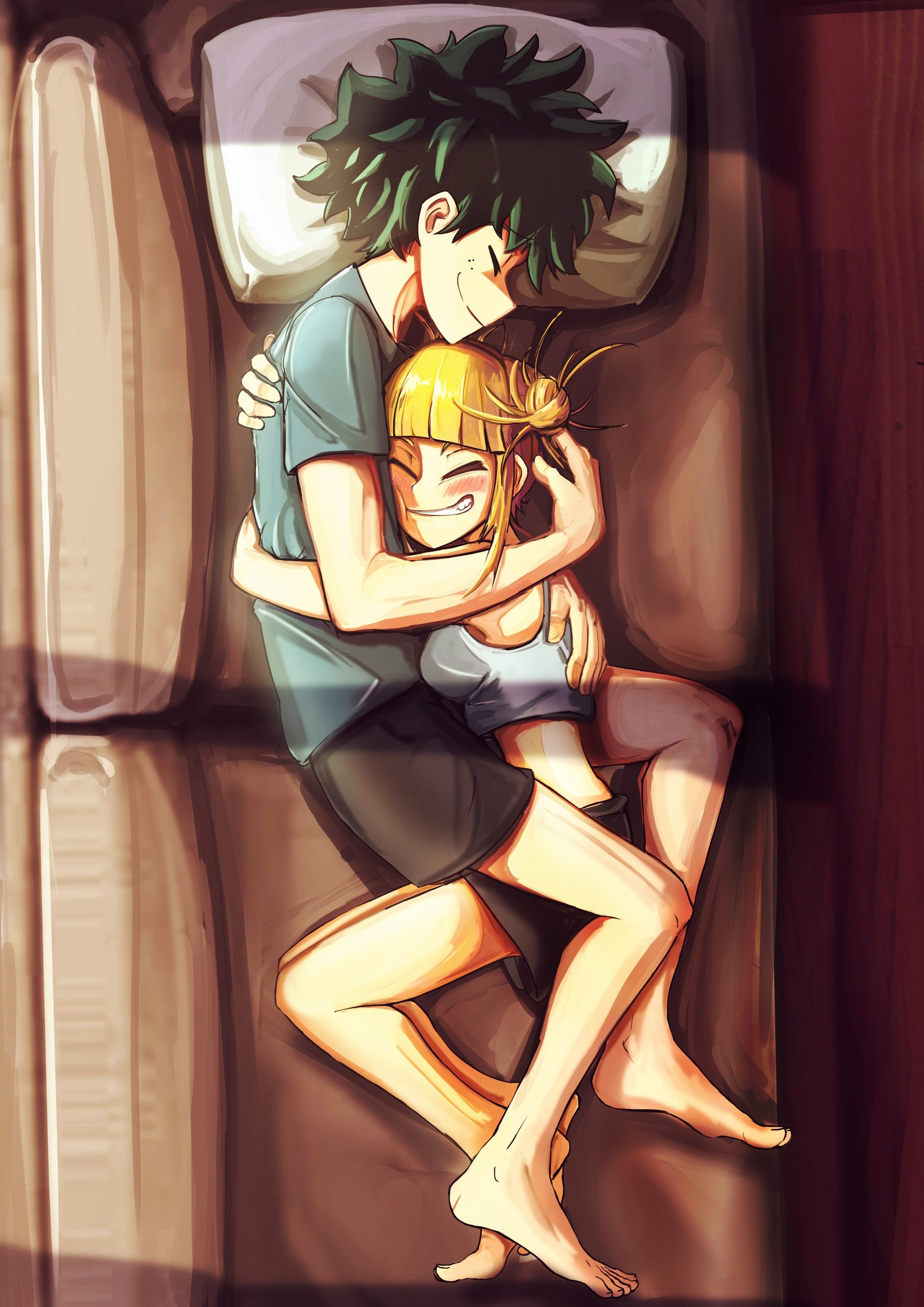 Toga Himiko X Midoriya Izuku Illustration Sleeping Together My Hero Academia Episodes Toga Villain Deku