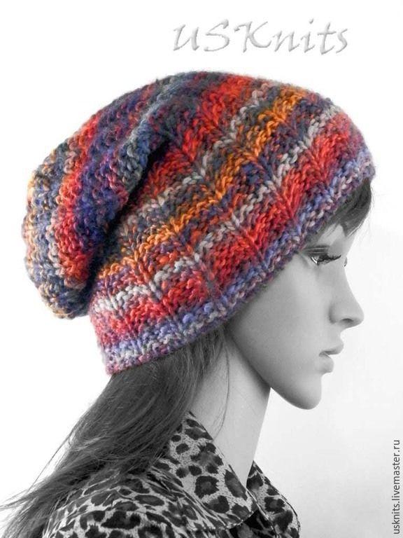 Вязаная теплая шапка бини, шапка носок, шапка с отворотом ...