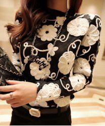 $9.59 Moda Emenda de Renda Flor Estéreo Bloco de Cor Mangas Compridas Blusa das Mulheres