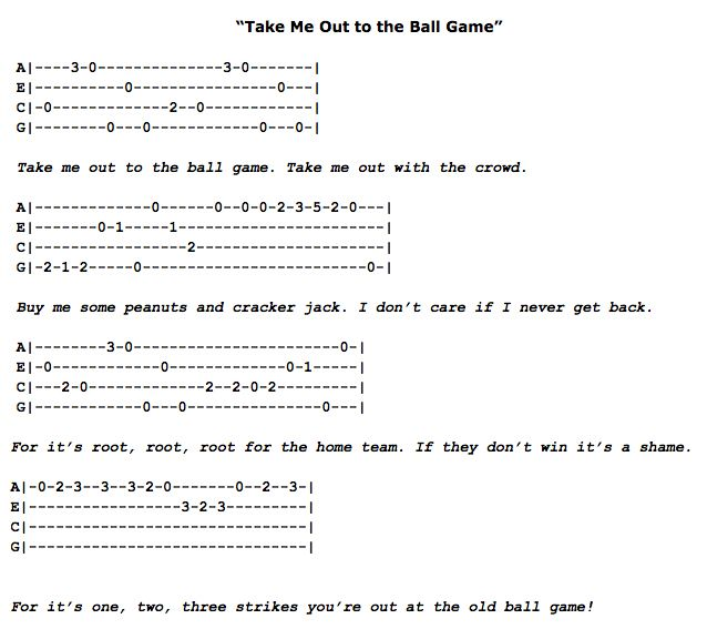 Take Me Out To The Ball Game Ukulele Fingerpicking Pattern Ukulele