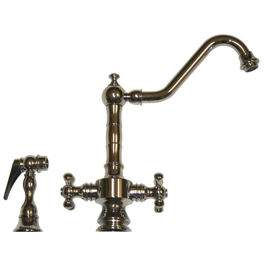Vintage III dual handle faucet with long traditional swivel spout, cross handles and solid brass side spray