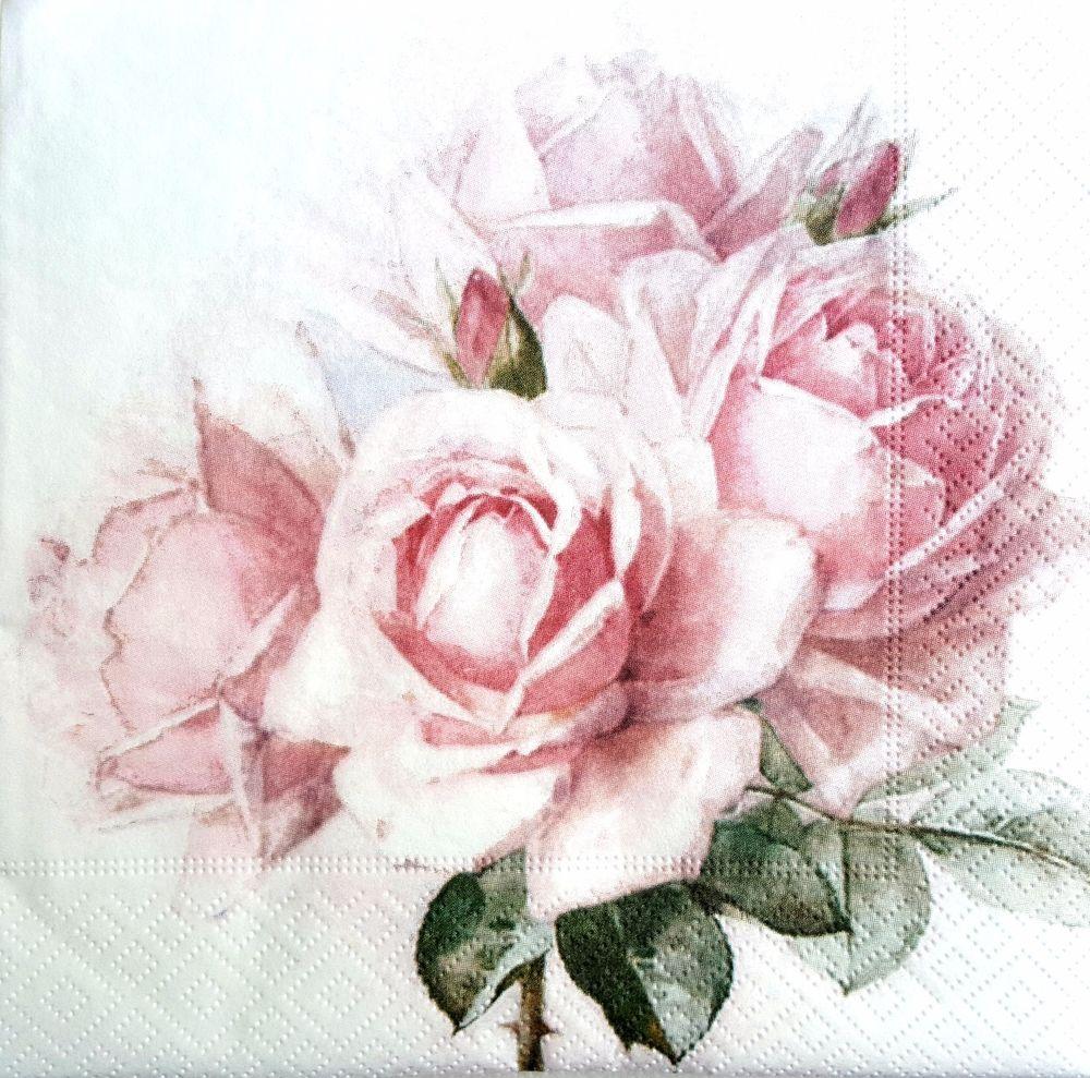 4 Single paper decoupage napkins roses -278 Vintage,shabby chic pink design