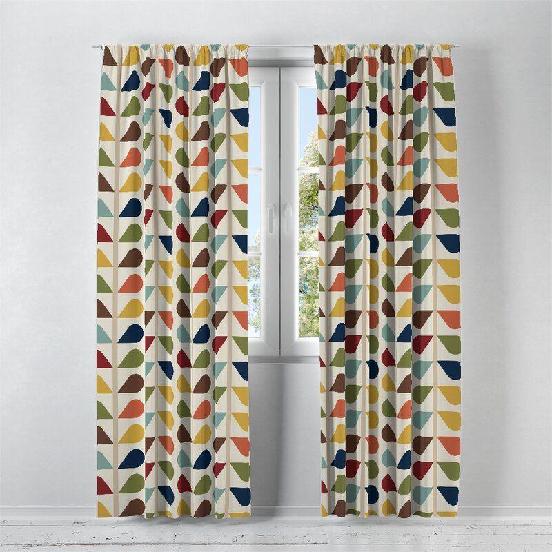 Geometric Semi Sheer Curtain Panels Mid Century Modern Curtains Mid Century Modern Patterns Panel Curtains
