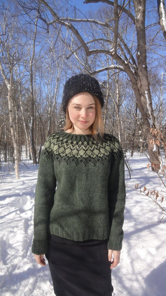 Icelandic Sweater / Lopapeysa Hand Knit in Pine by Waysofwoodfolk ...