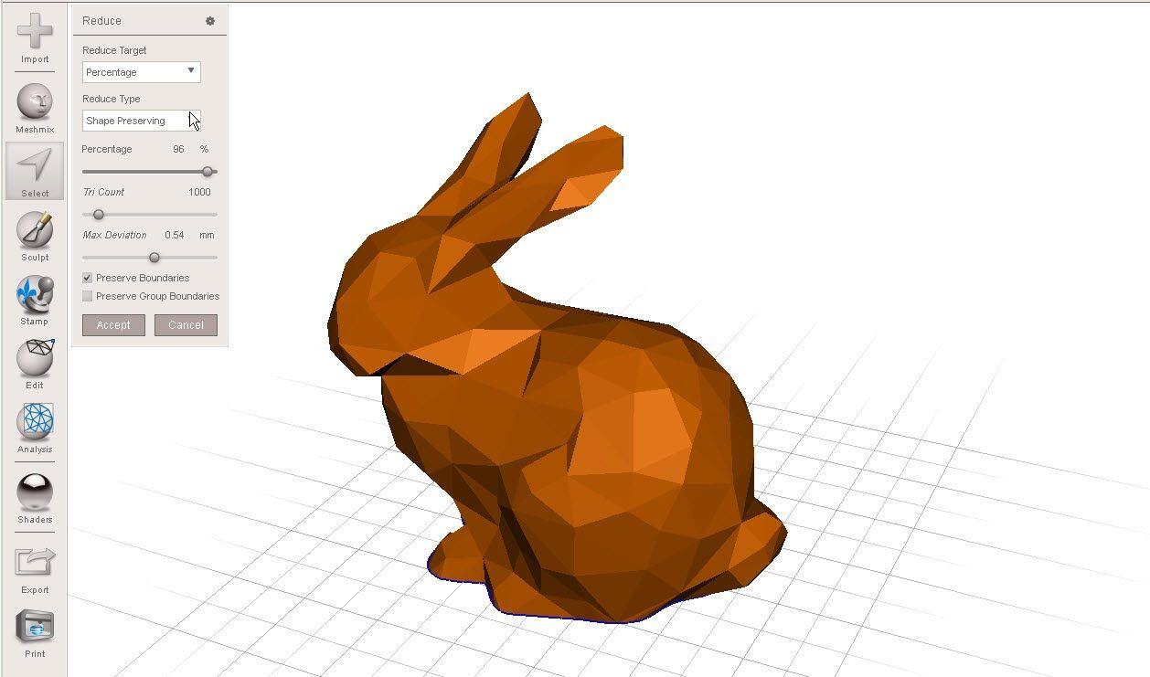 Reduce polygons (decimate) in Autodesk Meshmixer | 3D