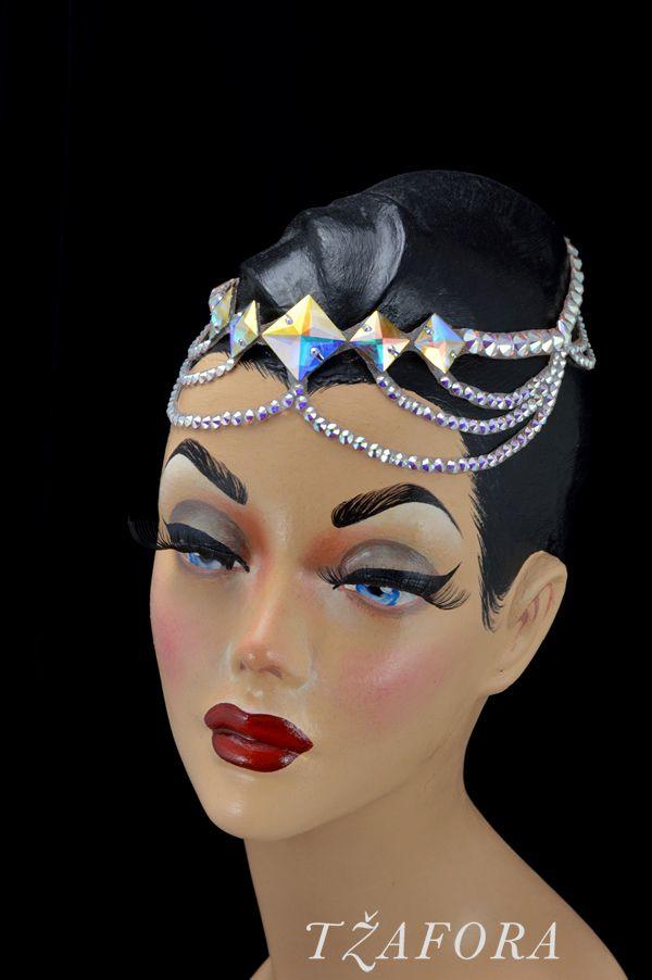"""Nahema"" - Dancesport accessories. Ballroom hair accessory and ballroom jewelry made with Swarovski, available at www.tzafora.com © 2016 Tzafora. Handmade in Canada."