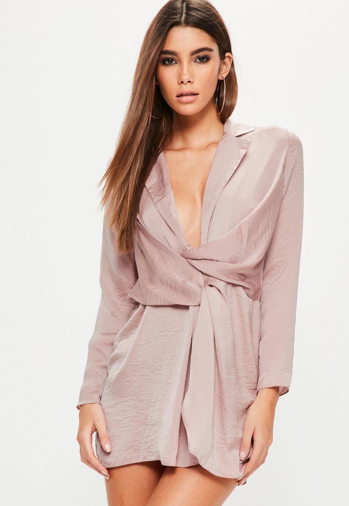 7850fef24376 Petite Pink Hammered Satin Wrap Plunge Dress in 2019 | WORKWEAR ...