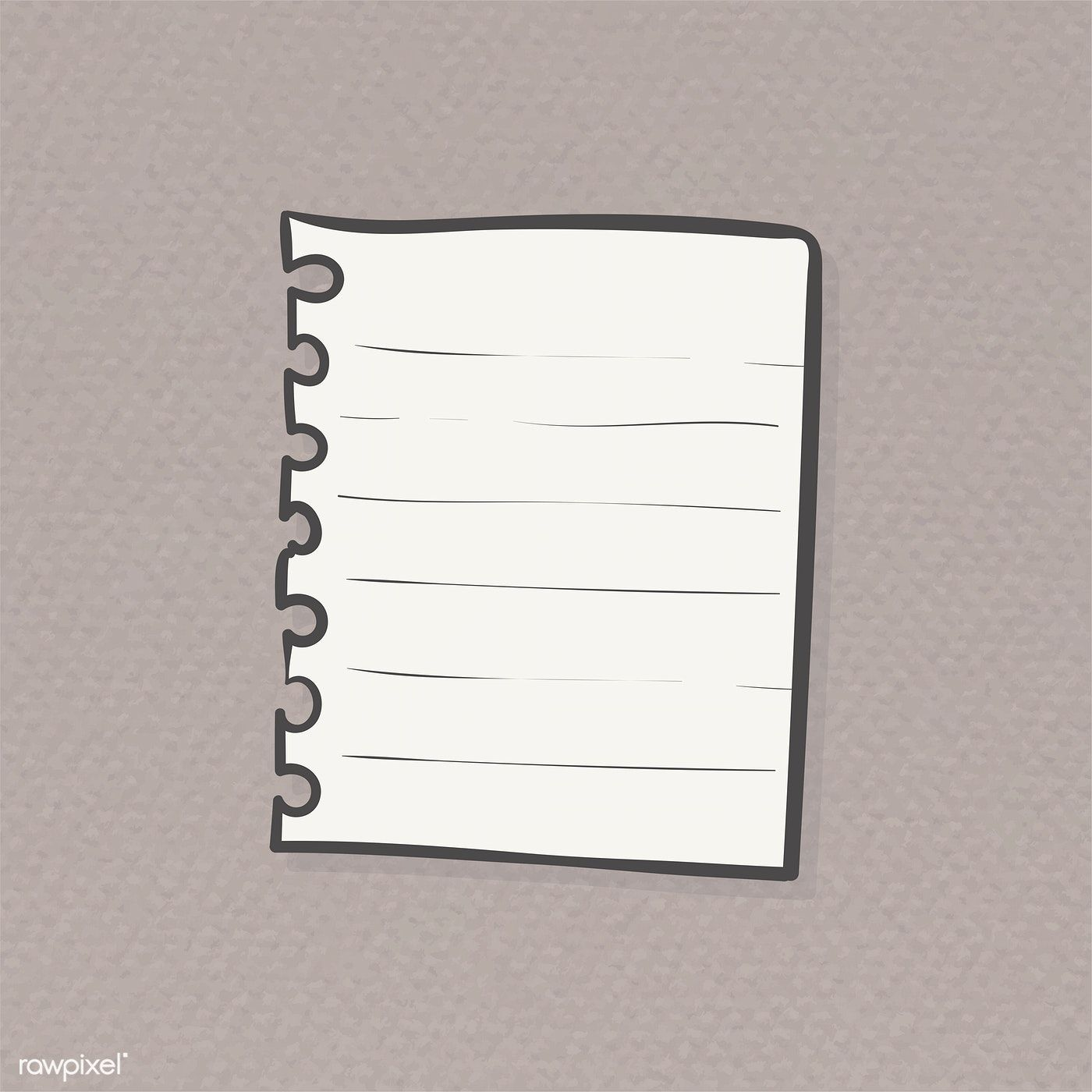 Torn sheet of paper from spiral notebook illustration