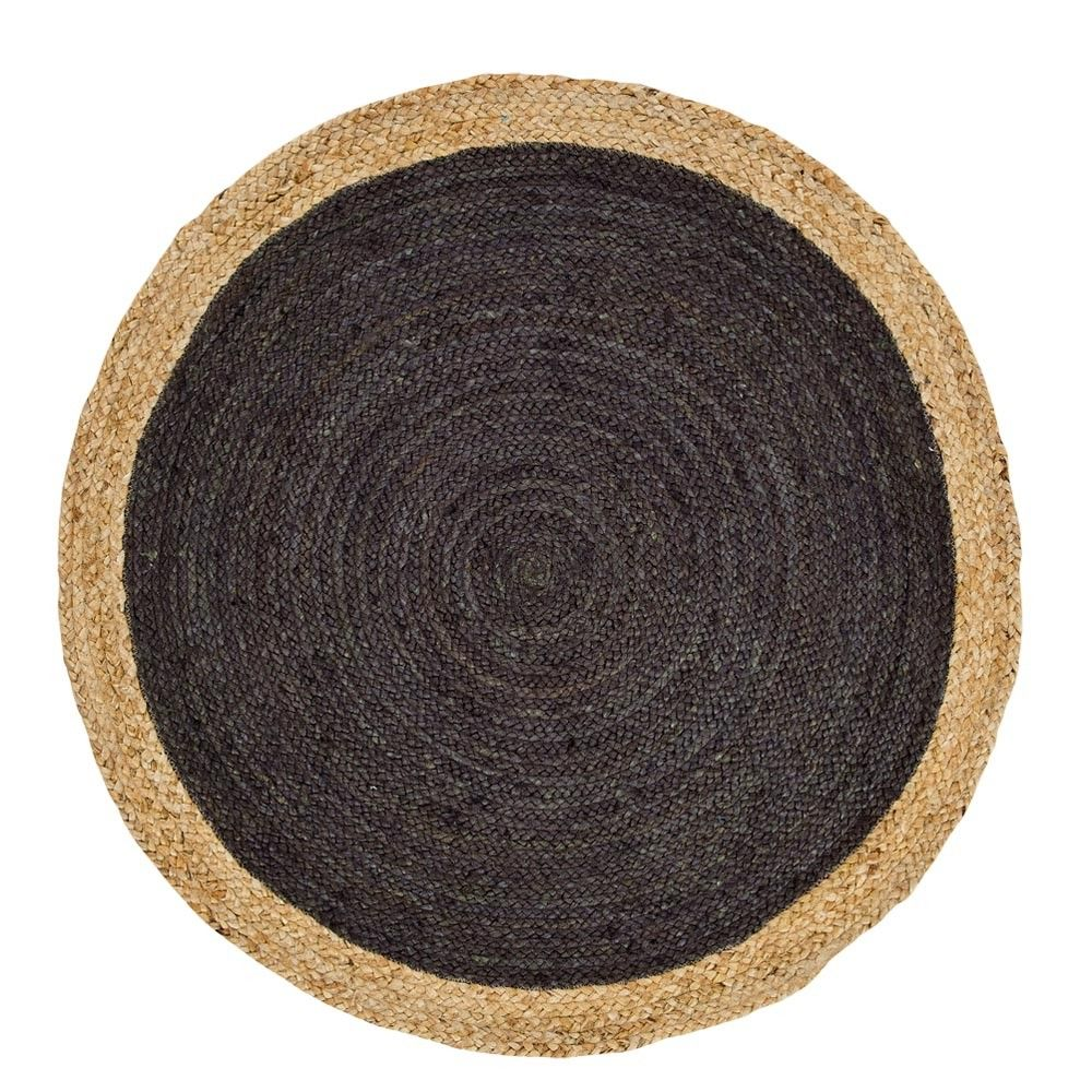 Round Charcoal Absolon Jute Rug