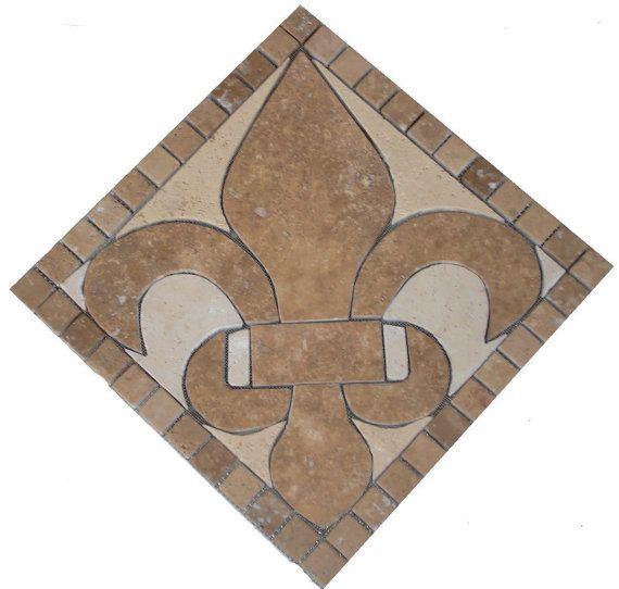 Noce Fleur Dis Lis Mosaic Marble Deco Insert By Jdyermosaics Mosaic Mosaic Pieces Stone Design