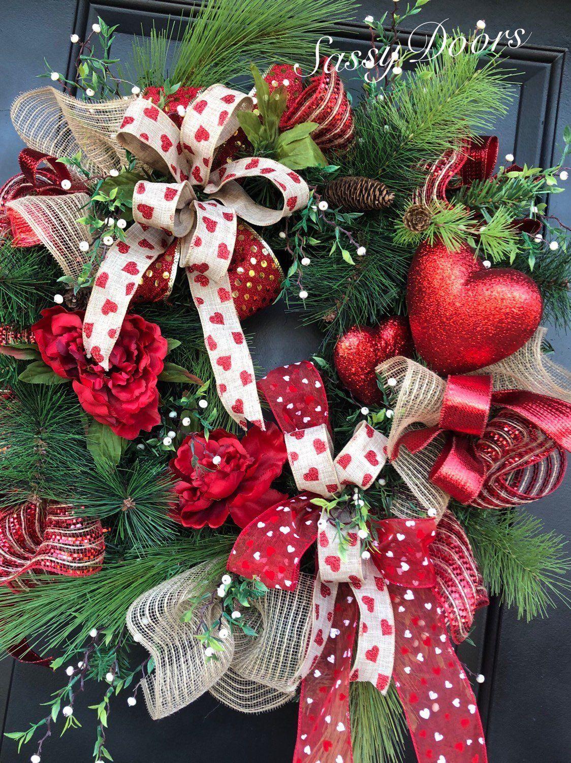 Valentines Wreath, Valentine Door Wreath, Red Hear