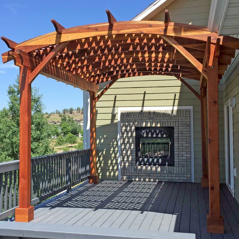 Arched Pergola Kits Options 16 L X 12 Arc W California Redwood No Electrical Wiring Trim Arched Roof With L In 2020 Pergola Concrete Patio Makeover Pergola Kits