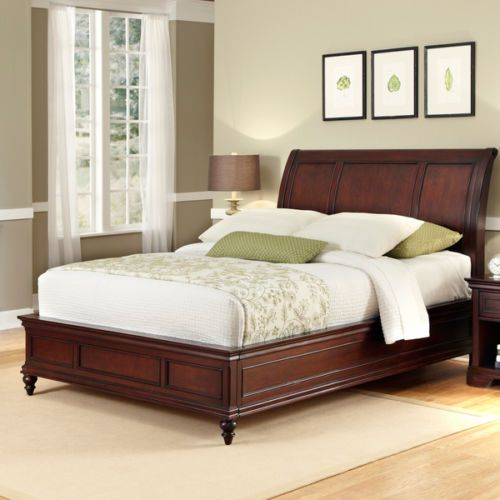 Brown Cherry Finish Mahogany Wood Panel Headboard Footboard King