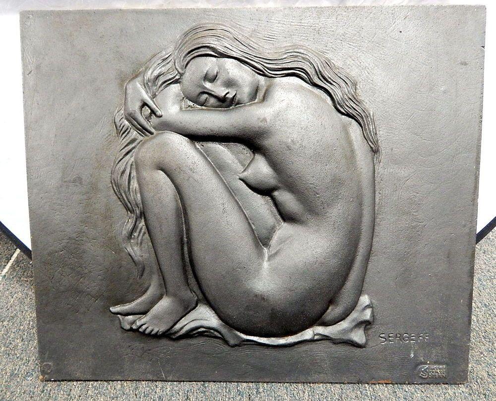 jacques sergeff french art deco woman cast iron fireplace