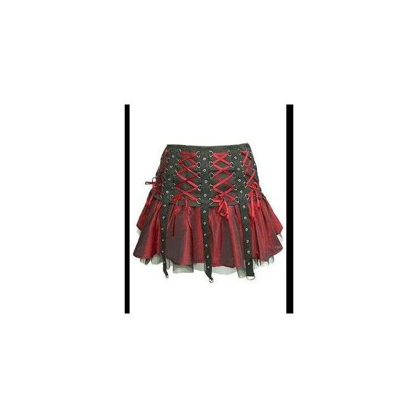 Red Black Gothic Punk Mini Corset Skirt ($53) ❤ liked on