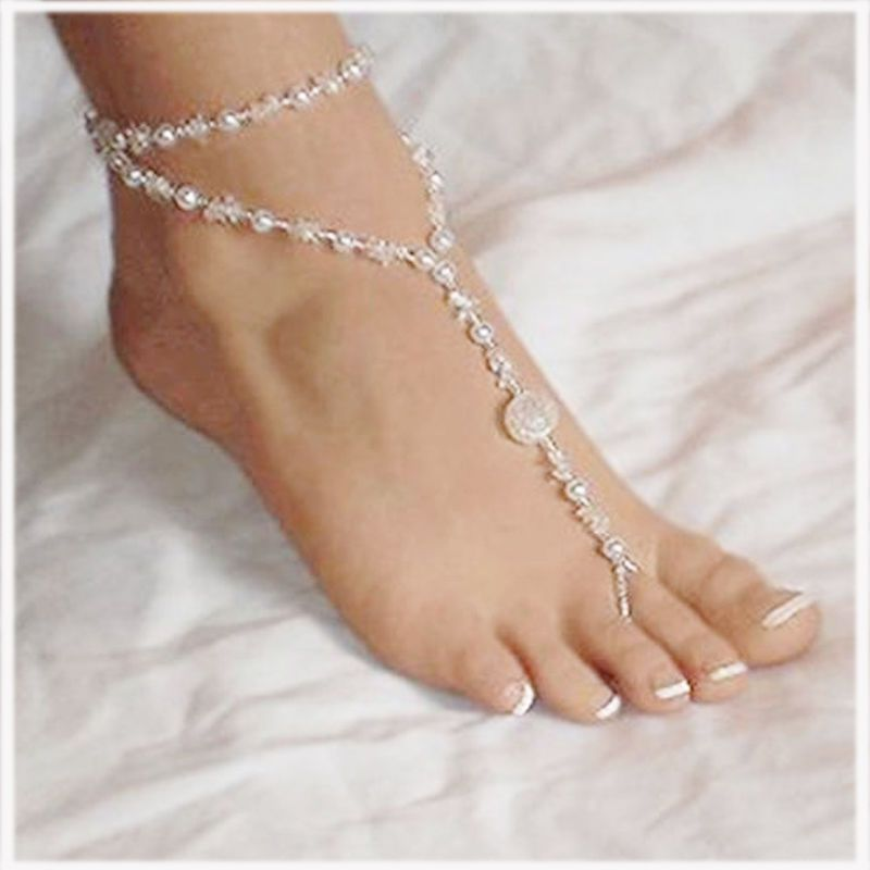 8eb5e941a2f5e5 Pretty Pearl Barefoot Sandal Anklet Ankle Bracelet Foot Chain Toe Ring  Jewelry