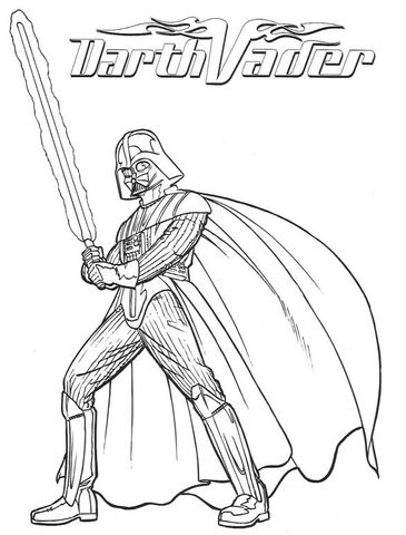 Darth Vader with lightsaber Coloring page  trunk or treat
