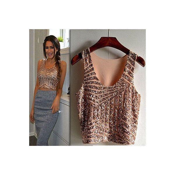5beea66b9a Gold Sequin Crop Top Short Tops Sequin Tops Party Clothes Rose Gold... (