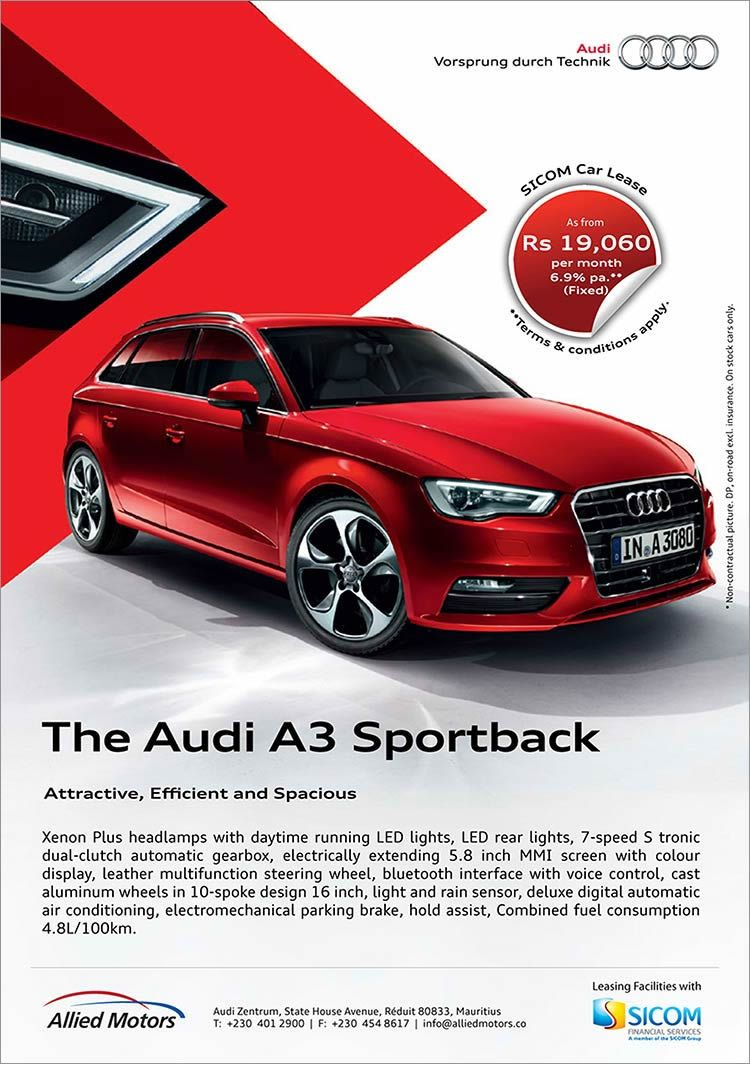 The Audi A3 Sportback As From Rs 19 060 Per Month 6 9 P A Fixed With Sicom Car Lease Tel 401 Audi A3 Sportback Car Advertising Automobile Advertising