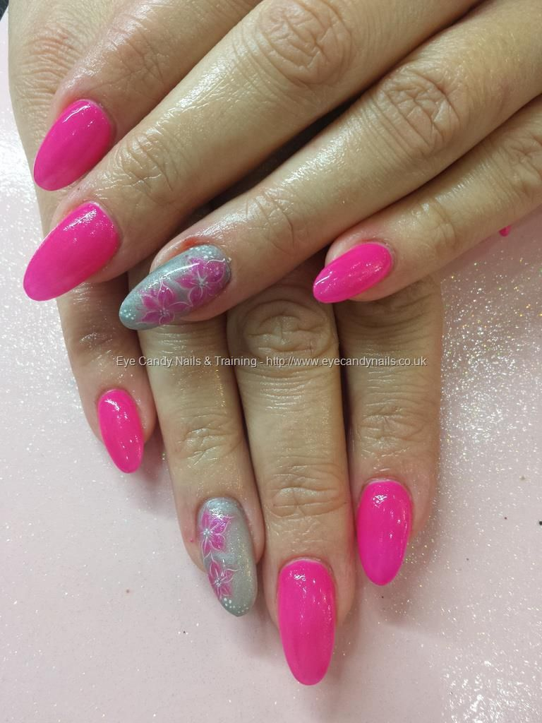 Pink gel polish with hydrogel flower nail art | tuto ongles ...