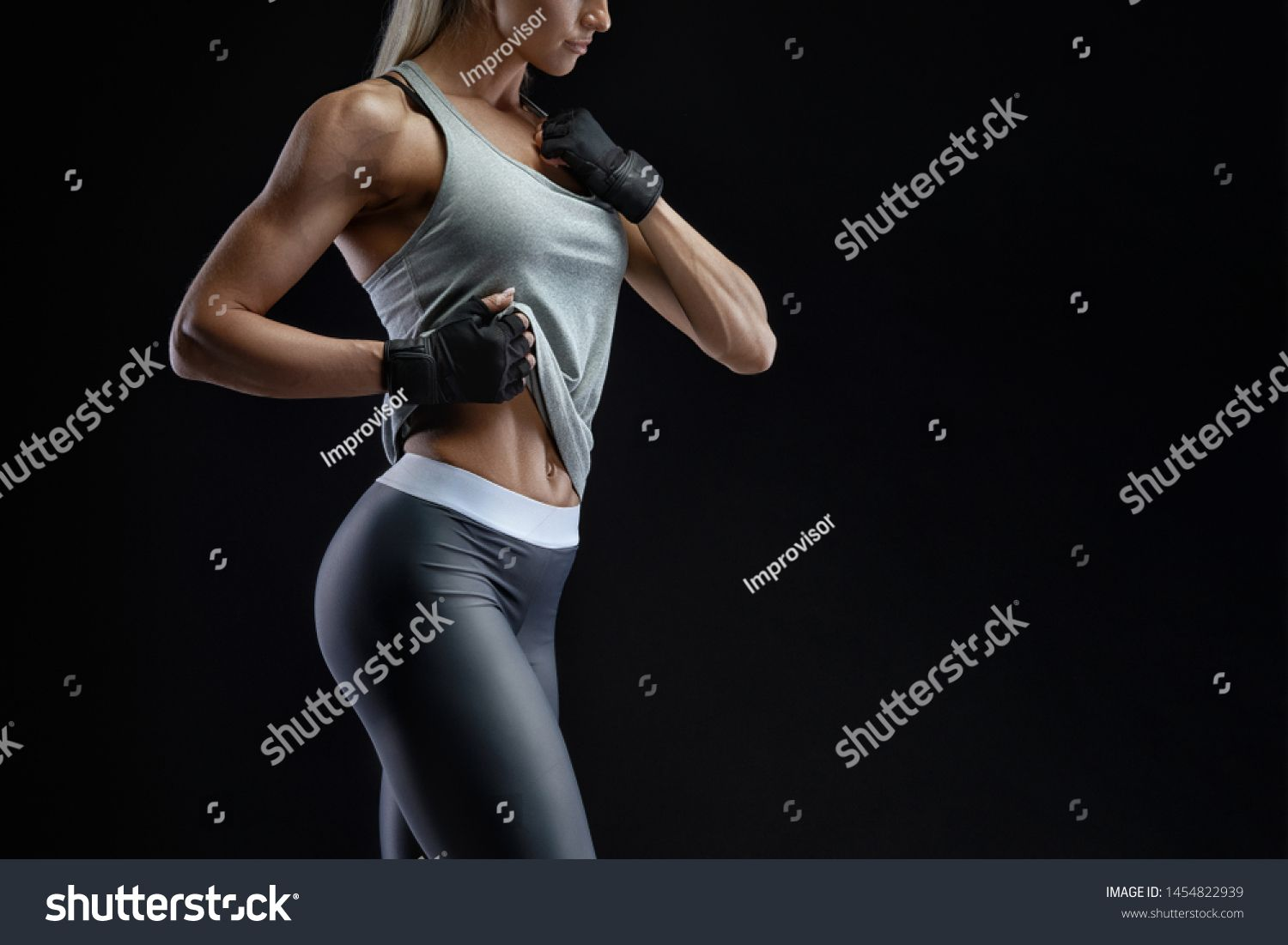Croped image of sideview beautiful fit girl. Energy fitness motivation, workout, sport, lifestyle co...