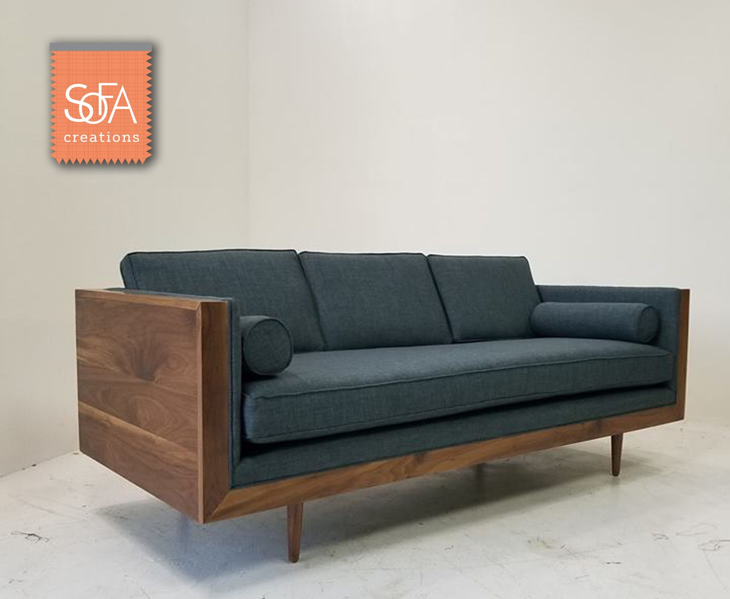 Walnut Pillow Back Sofa Add Some Warmth To Your Living Room With This Wood Encased Mid Century Modern Creations Couch