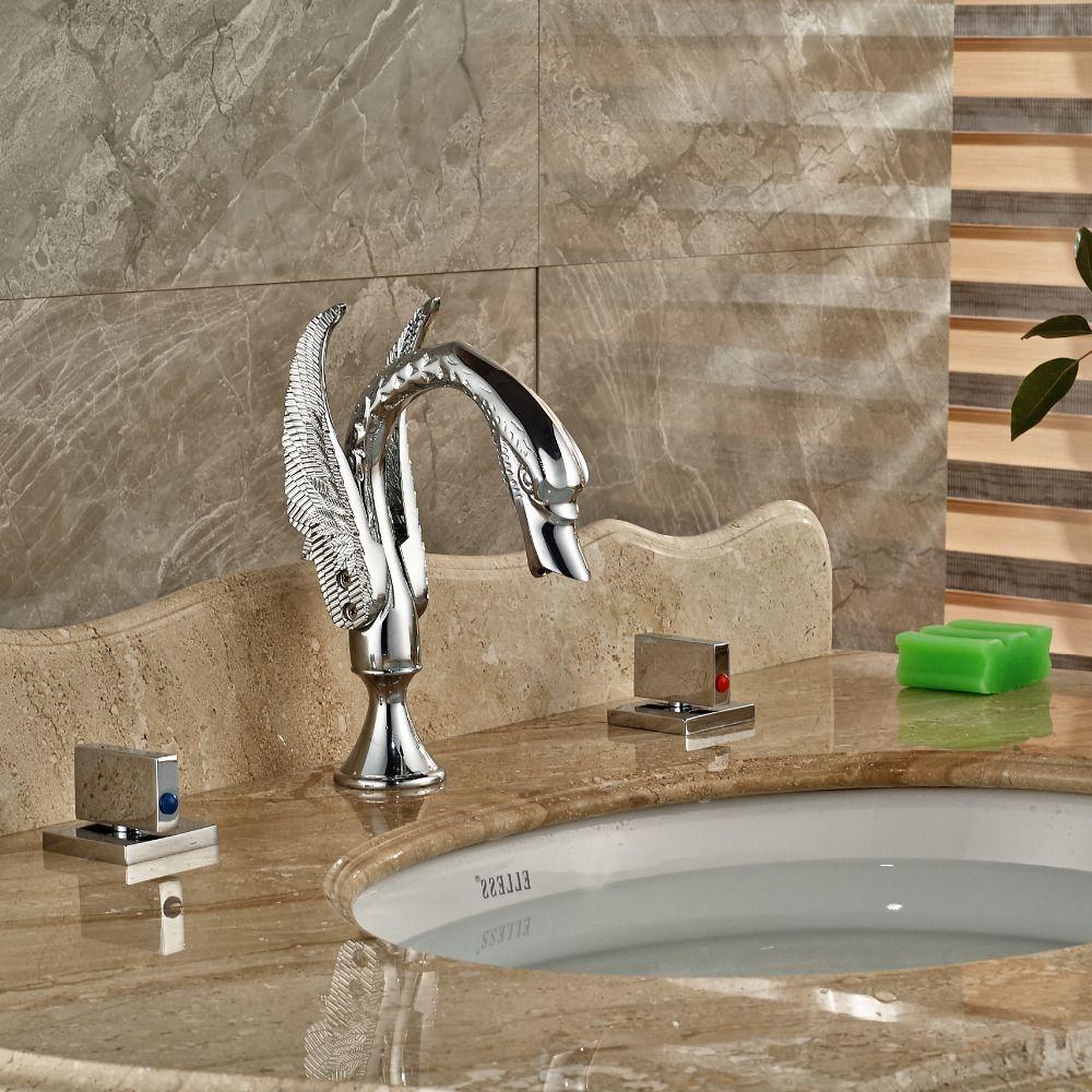 Square Handles Chrome Brass Bathroom Animal Swan Faucet Dual Handles - Chrome and brass bathroom fixtures