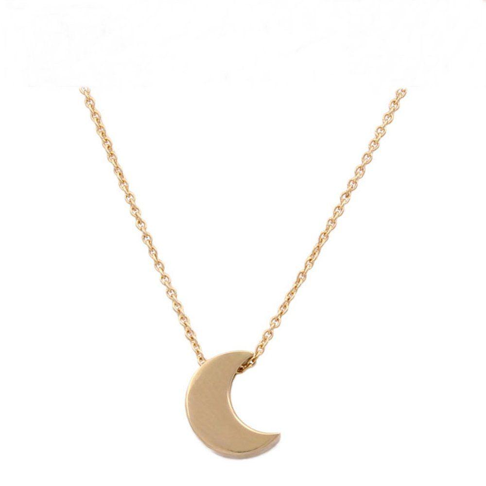 Un precioso moon//heart Color Plata Collar Nueva.