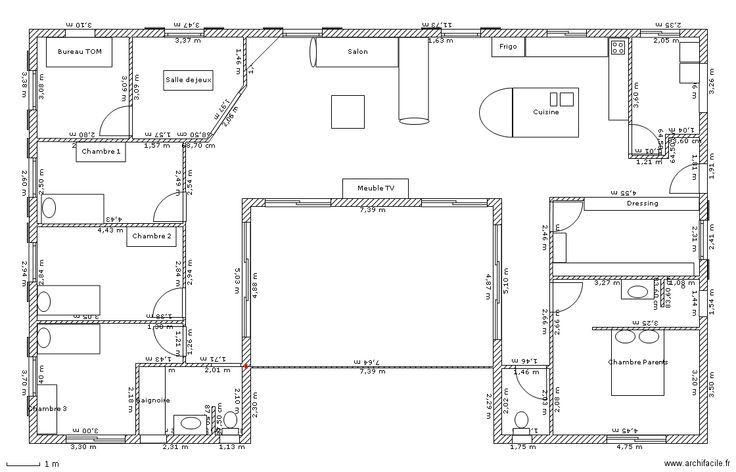 Super plan de maison en U pour famille avec enfants - 3 chambres et