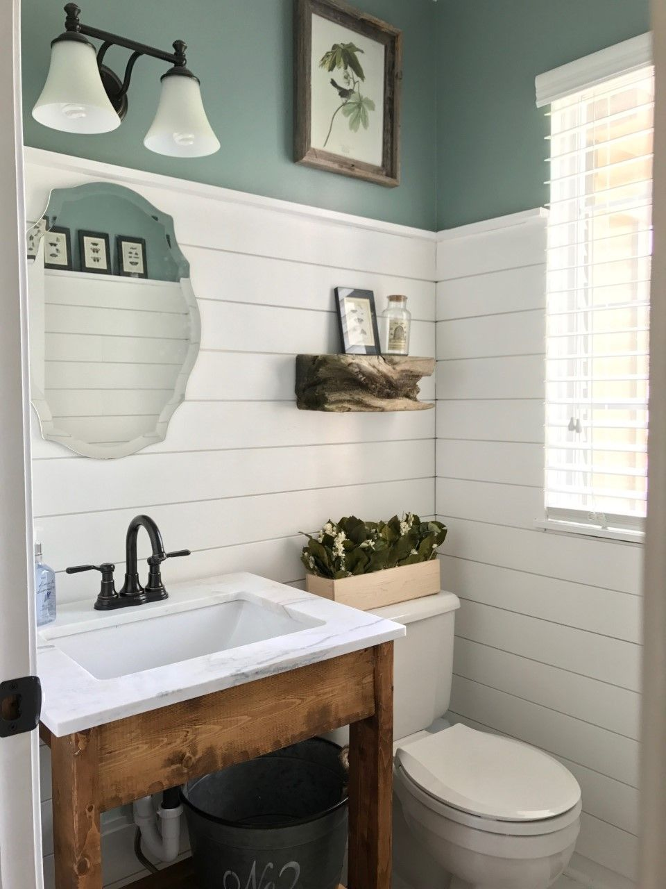 Shiplap Powder Room DIY Remodel – BrandNewell Design Company | Home ...