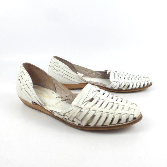 b8c8d6005279d Leather Woven Sandals Vintage 1980s White 9 West Huaraches Women's ...