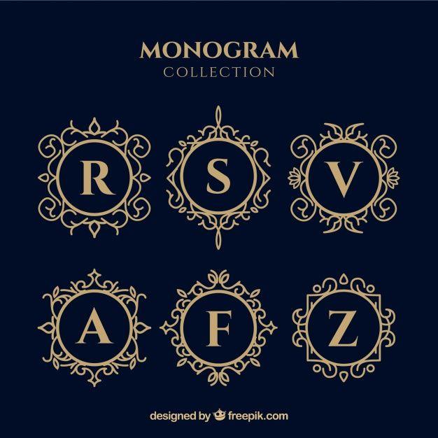 Set of elegant gold monograms Free Vector