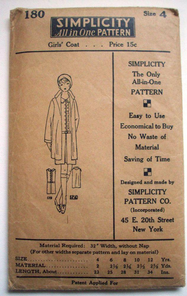 Vintage 1920\'s 1930\'s LITTLE GIRL\'S coat pattern 180 size 4 uncut ...