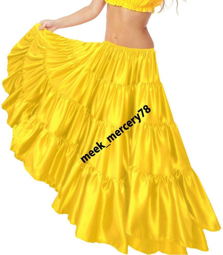 Satin ** belly Dance Skirts ** 25 yard 4 Tiered Skirts ** Women Long SKirt S30