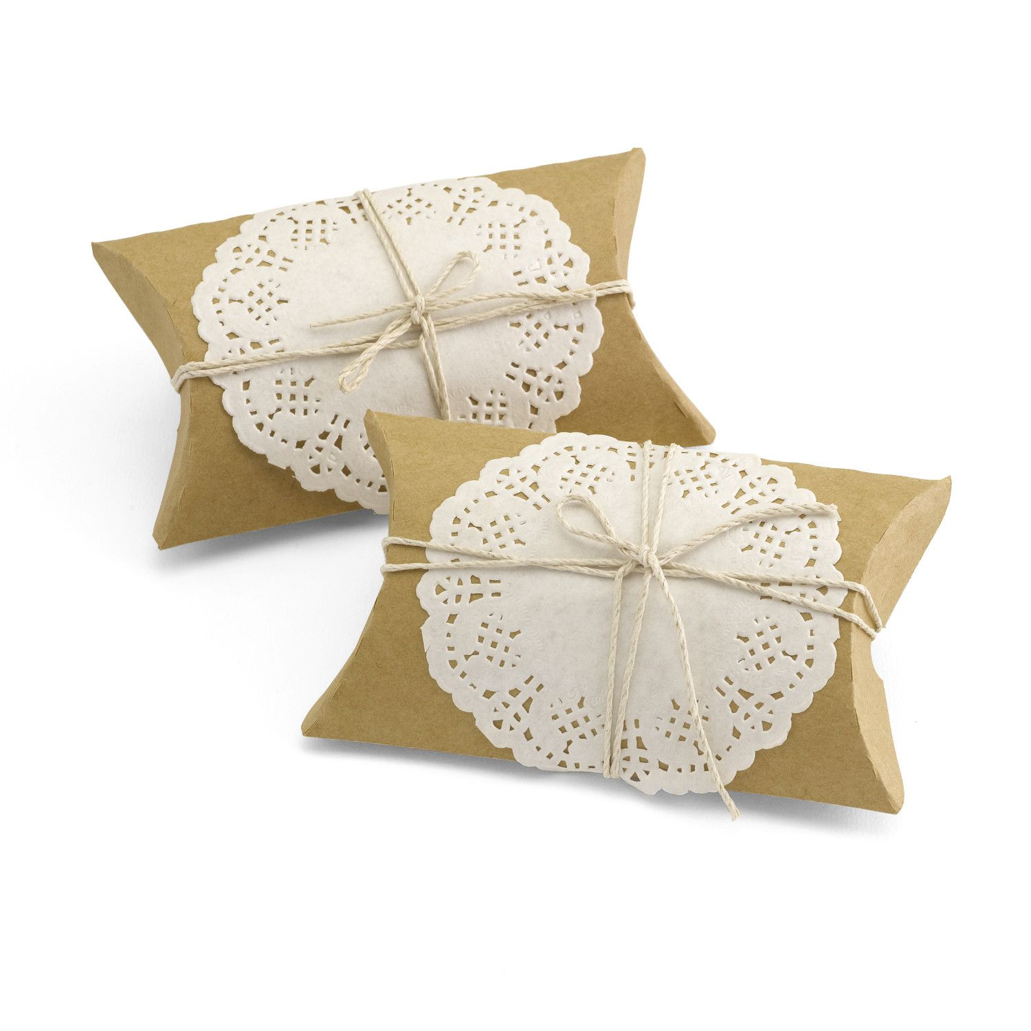 Kraft Pillow Wedding Party Favor Box with Lace and Jute | Favors ...