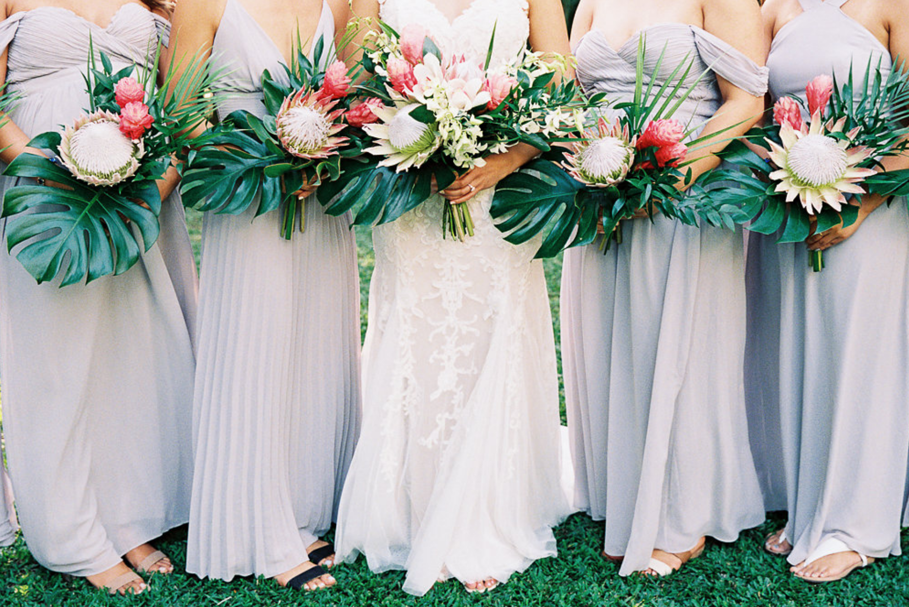 Tropical Bouquets With King Protea Ginger Orchids Monstera Tropical Wedding Bouquets Tropical Wedding Wedding Bouquets